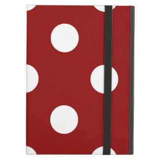 Large Polka Dots - White on Dark Red Cover For iPad Air