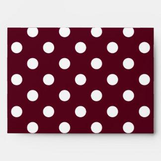 Large Polka Dots - White on Dark Scarlet Envelope
