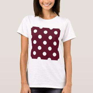 Large Polka Dots - White on Dark Scarlet T-Shirt