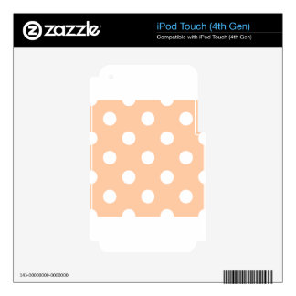 Large Polka Dots - White on Deep Peach iPod Touch 4G Skin