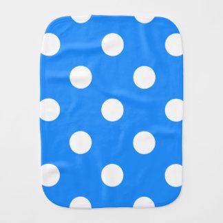 Large Polka Dots - White on Dodger Blue Burp Cloth