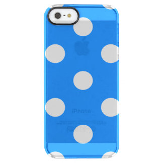 Large Polka Dots - White on Dodger Blue Clear iPhone SE/5/5s Case