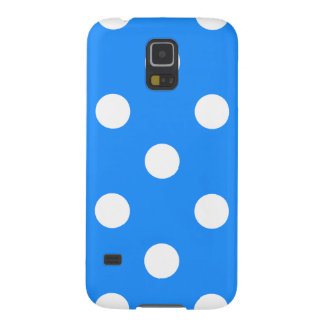 Large Polka Dots - White on Dodger Blue Galaxy S5 Cover