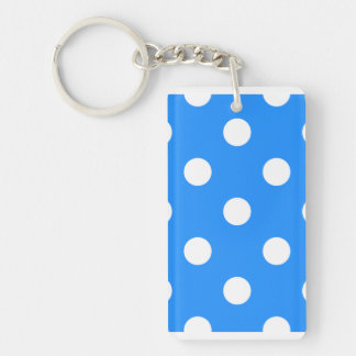 Large Polka Dots - White on Dodger Blue Keychain