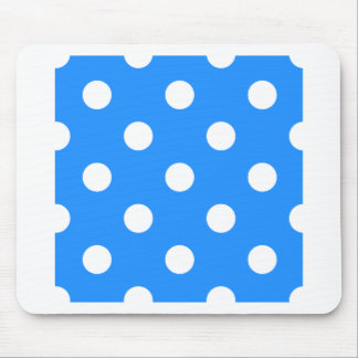 Large Polka Dots - White on Dodger Blue Mouse Pad