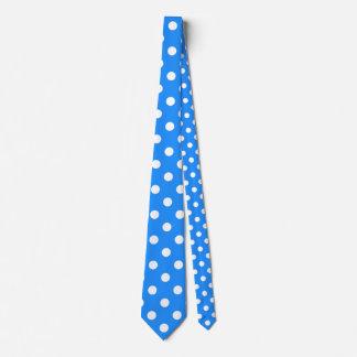 Large Polka Dots - White on Dodger Blue Neck Tie