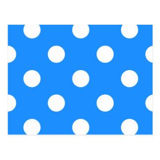 Large Polka Dots - White on Dodger Blue Postcard