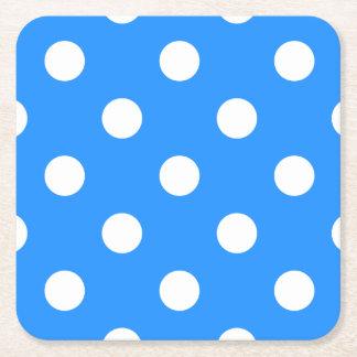 Large Polka Dots - White on Dodger Blue Square Paper Coaster
