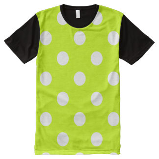 Large Polka Dots - White on Fluorescent Yellow All-Over-Print Shirt