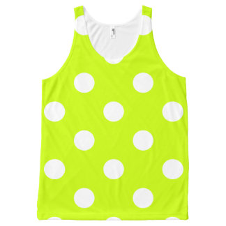 Large Polka Dots - White on Fluorescent Yellow All-Over-Print Tank Top