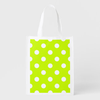 Large Polka Dots - White on Fluorescent Yellow Grocery Bags