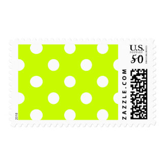 Large Polka Dots - White on Fluorescent Yellow Postage