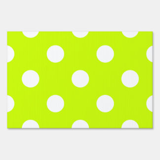 Large Polka Dots - White on Fluorescent Yellow Sign