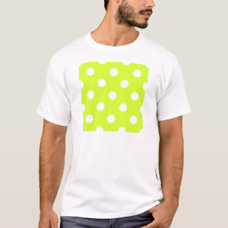Large Polka Dots - White on Fluorescent Yellow T-Shirt
