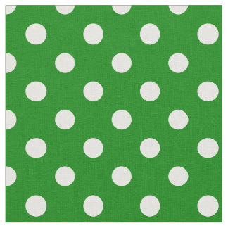 Large Polka Dots - White on Green Fabric