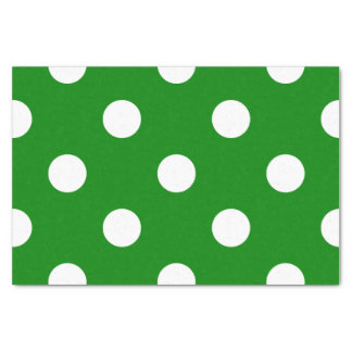 Large Polka Dots - White on Green Tissue Paper