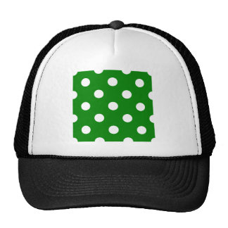 Large Polka Dots - White on Green Trucker Hat
