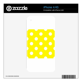 Large Polka Dots - White on Lemon Yellow Skins For iPhone 4S