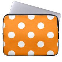 Large Polka Dots - White on Orange Computer Sleeve