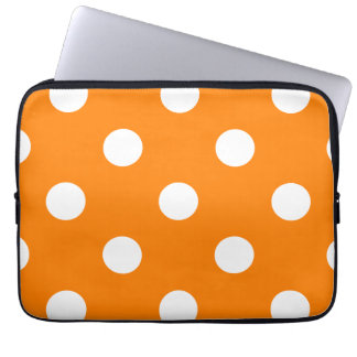 Large Polka Dots - White on Orange Computer Sleeve
