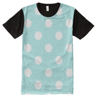 Large Polka Dots - White on Pale Blue All-Over Print T-shirt