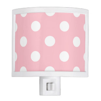 Large Polka Dots - White on Pink Night Light