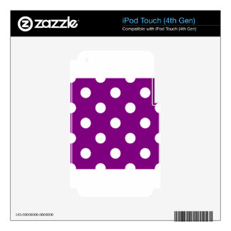 Large Polka Dots - White on Purple Skin For iPod Touch 4G