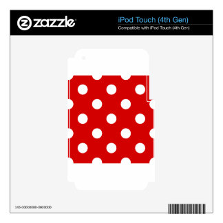 Large Polka Dots - White on Rosso Corsa Skin For iPod Touch 4G