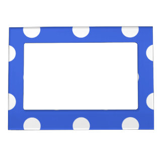 Large Polka Dots - White on Royal Blue Magnetic Picture Frame