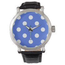 Large Polka Dots - White on Royal Blue Wrist Watch
