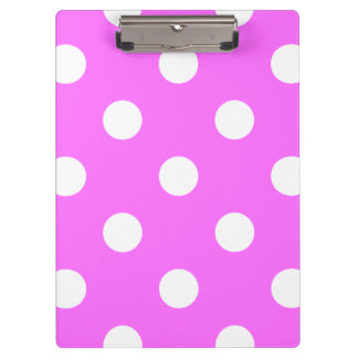 Large Polka Dots - White on Ultra Pink Clipboard