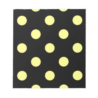 Large Polka Dots - Yellow on Black Notepad