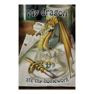 Large Poster - My Dragon Ate My Homework + Title