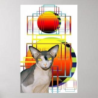 Large Poster   Sphynx Cat Retro white Geometric