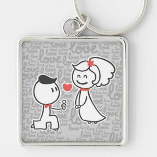 Large Premium Square Keychain/Couple Silver-Colored Square Keychain
