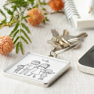 Large Premium Square Keychain/Family Silver-Colored Square Keychain
