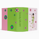 Large Pretty Girls Pink and Green Binder