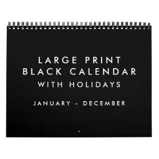 Large Print Blank Black Calendar With Holidays