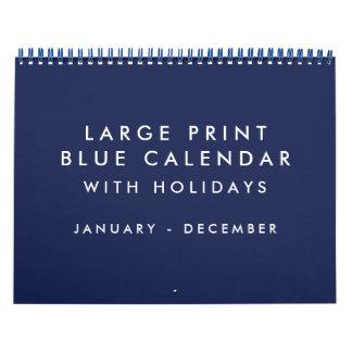 Large Print Blank Blue Calendar With Holidays