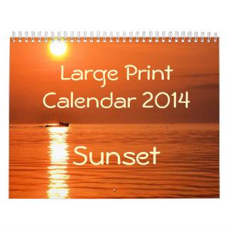 Large Print Calendar 2014 - Sunset