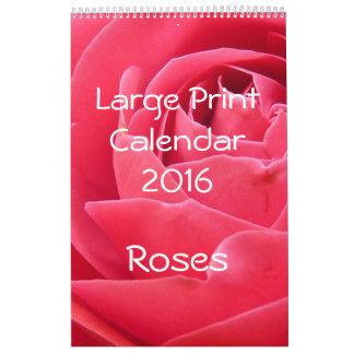 Large Print Calendar 2016 Roses Single Page