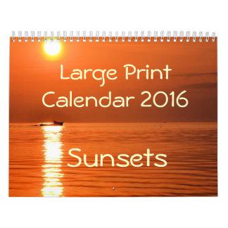 Large Print Calendar 2016 - Sunsets