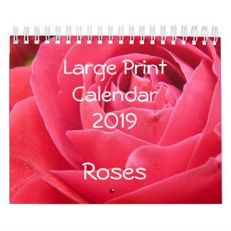 Large Print Calendar 2019 Roses Small