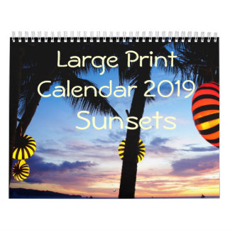 Large Print Calendar 2019 - Sunsets