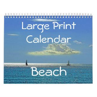 Large Print Calendar - Beach