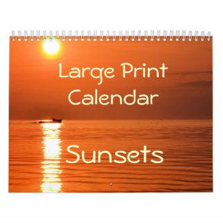 Large Print Calendar - Sunsets