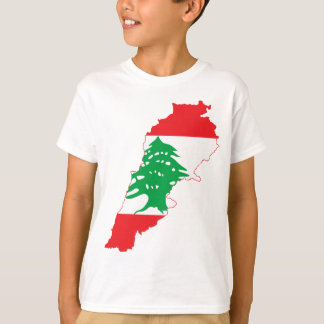 LARGE PRINT Lebanon Flag Map T-Shirt