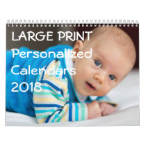 Large Print Personalized Calendars 2018