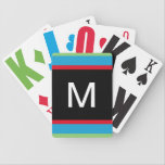 "Large Print Playing Cards<br><div class=""desc"">Large print playing cards are the perfect playing cards for someone who has vision problems. This deck of playing cards features green, blue, red and black stripes on the back of each card with a monogram in white. These are simply the best kind of cards for someone with vision problems...</div>"