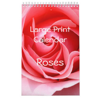 Large Print Small Calendar Roses Single Page